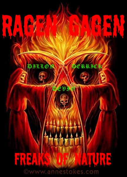 RAGEN GAGEN FLAMING ALTER OF THREE BROTHERS SKULLS