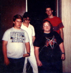 This is the first photo taken of the band. L-R is David Maine, Randy Lawson, Bill Plummer, Eric Daughhetee.